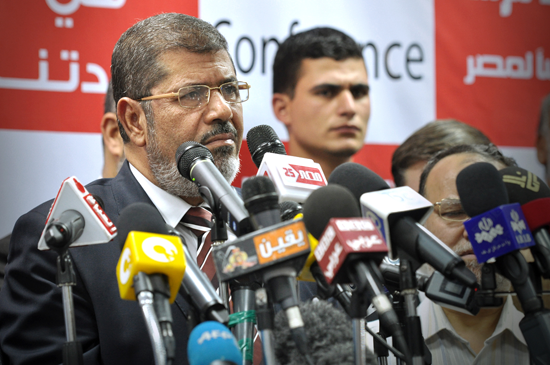 Mohammed Morsi at a press conference on June 18, 2012 (Creative Commons).