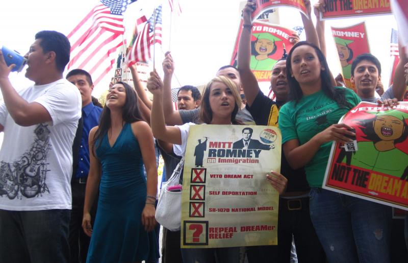 A perfect merging of these groups are DREAMers, shown here at a September rally in downtown L.A. (Danny Lee/Neon Tommy)