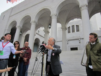 James Lafferty, director of the National Lawyers Guild in L.A., addressed members of the media. (Catherine Green)