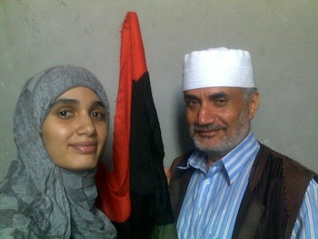 Khadija M. Ali, pictured here with her father, is a journalist for The Tripoli Post. She risked her life during last year's revolution to report from the demonstrations. (Submitted photo)