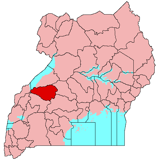 In Kibaale, highlighted here in red, villagers had begun fleeing their homes as friends and neighbors began to inexplicably fall ill and die. (Wikimedia Commons)