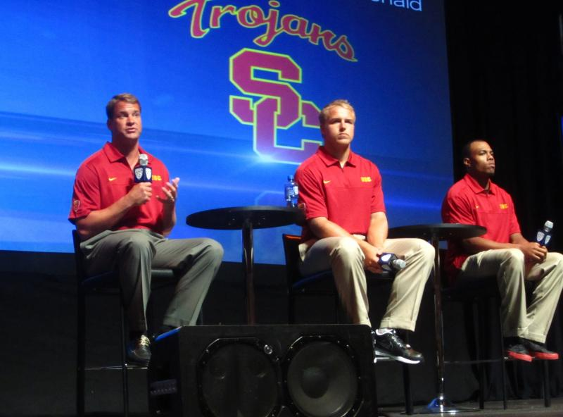 From left to right: Head coach Lane Kiffin, Matt Barkley and T.J. McDonald address reporters at Pac-12 Media Day. (Danny Lee/Neon Tommy)