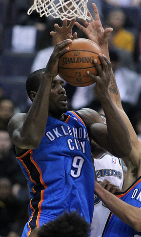 Serge Ibaka, who comfortably leads the league in blocks, had 11 on Sunday night (Keith Allison/Creative Commons).