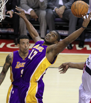 After posting a triple-double in Game 1, Bynum contributed 27 points and 9 rebounds, Tuesday. (Keith Allison/Creative Commons)