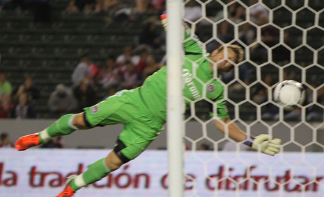 Saborio's third goal of the night sails past Chivas USA goaltender Dan Kennedy. (Salomon Fuentes/Neon Tommy)