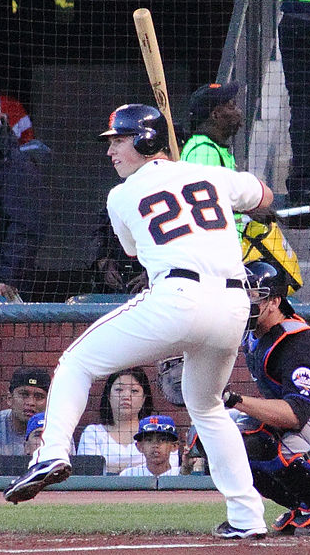 San Francisco catcher Buster Posey hit two NLDS home runs, including a Game 5 grand slam. (Chase N/Wikimedia Commons)