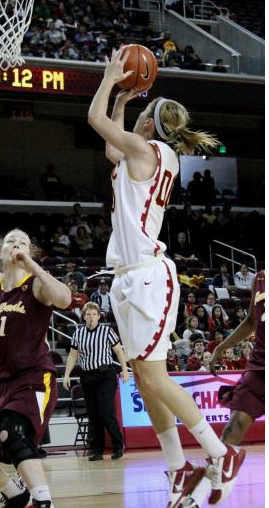 Christina Marinacci shot 1-of-9 in USC's defeat Saturday. (Shotgun Spratling/Neon Tommy)