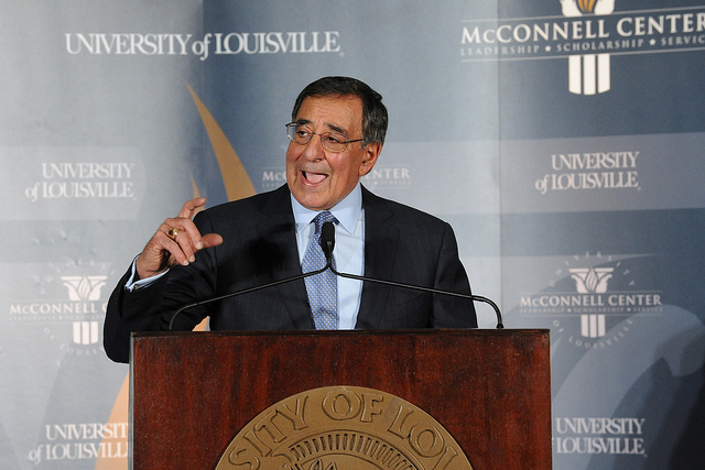 U.S. Defense Secretary Leon Panetta spoke to the media on Sunday about security measures in the Middle East. (McConnell Center/Creative Commons)