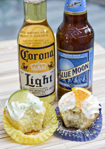 Blue Moon and Corona cupcakes. (Erica's Sweet Kitchen)