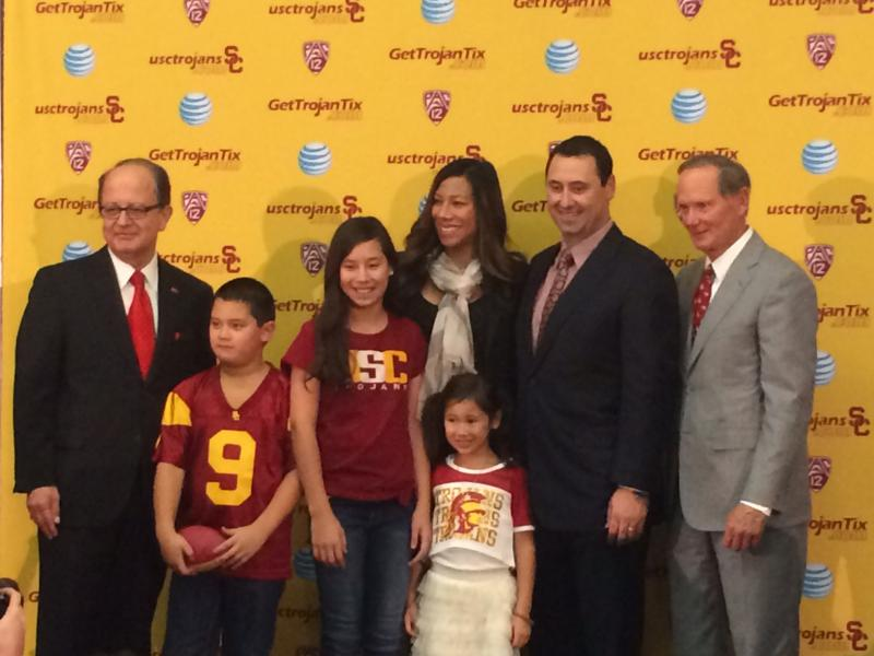 Steve Sarkisian and his family join USC Ad Pat Haden and President Max Nikias. (Jacob Freedman/Neon Tommy)