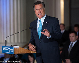 "The video captures Romney saying he will never convince those who don't pay income tax that ""they should take personal responsibility and care for their lives."" (Talk Radio News Service/Flickr)"