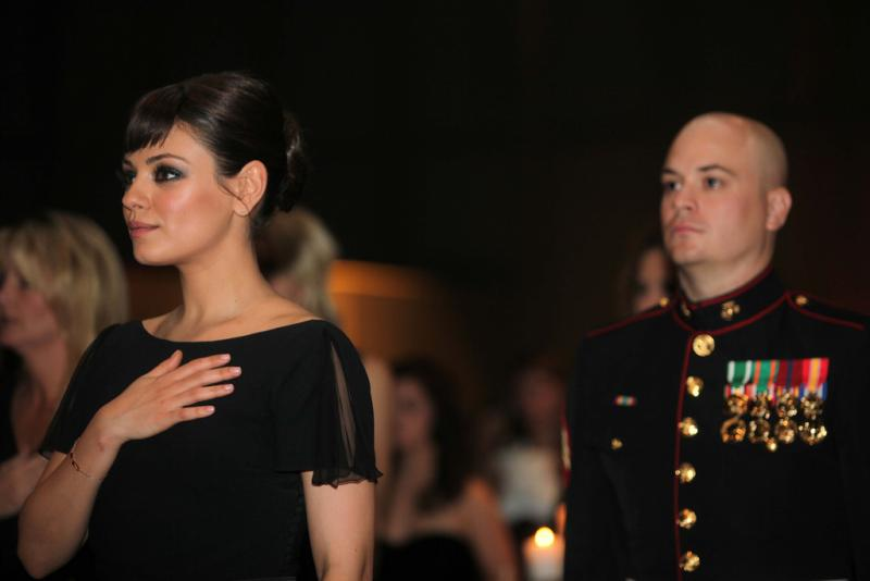 Mila Kunis and date Sgt. Scott Moore at Marine Corps Ball in Greenville, NC (Creative Commons)
