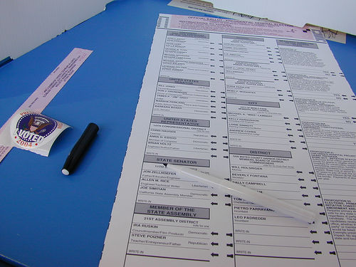 A California ballot. (Dawn Endico/Flickr)