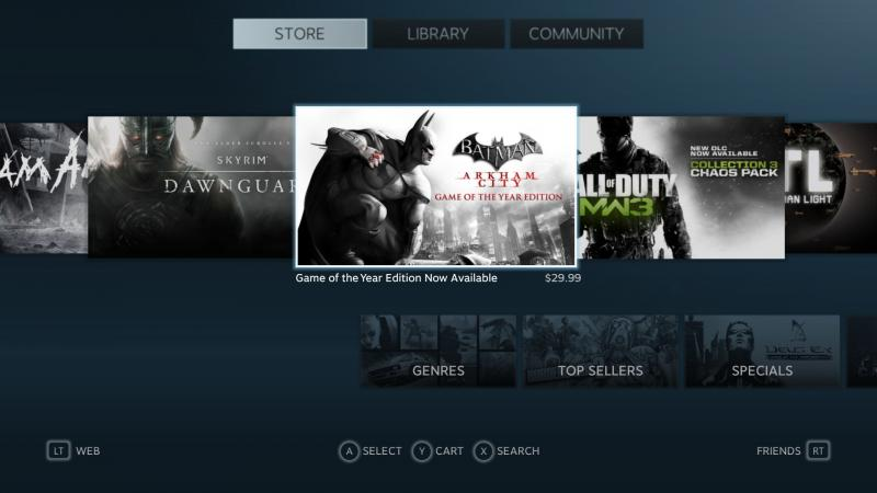 All of Steam's basic functions such as browsing and purchasing games are preserved in Big Picture. (Screenshot by Shea Huffman)