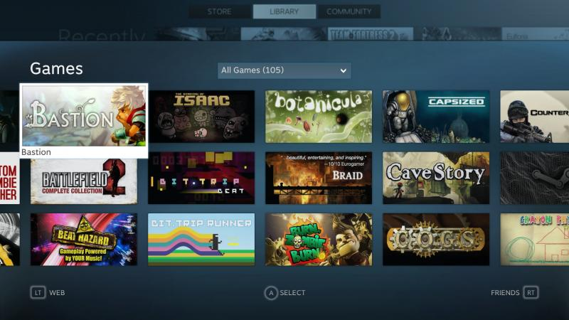Steam's Big Picture Mode is a sleek and intuitive interface for browsing and playing PC games using a gamepad and television. (Screenshot by Shea Huffman)