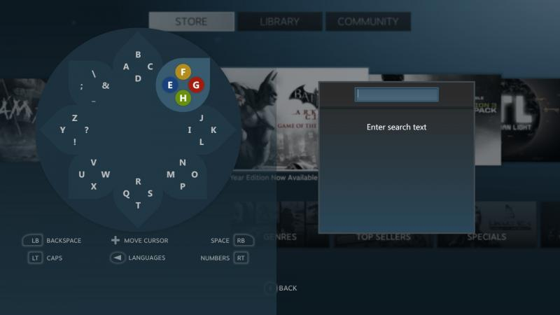 Daisywheel, the radial keyboard used by Big Picture Mode. (Screenshot by Shea Huffman)