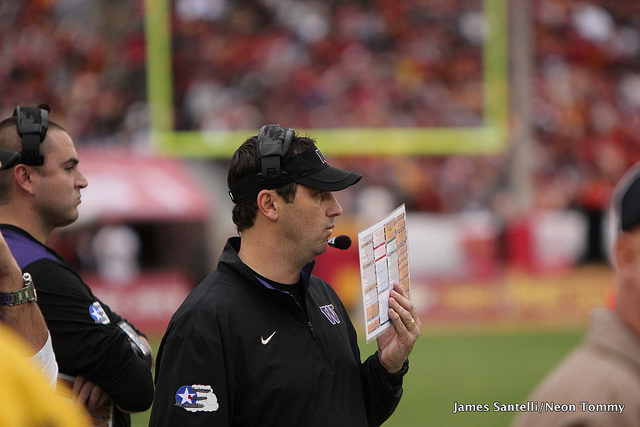 Washington's Steve Sarkisian was asked about the Huskies poaching coaches and recruits from in-conference rivals (Neon Tommy/James Santelli).