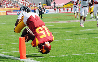 Nelson Agholor scored the only touchdown of the game for the Trojans. (Jerry Ting, Neon Tommy)