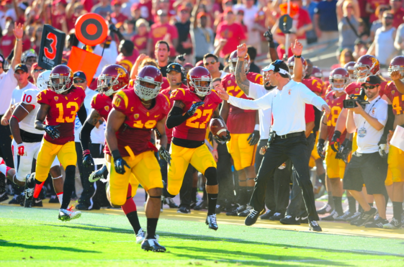 The USC sideline seemed like they were very excited throughout the game. (Charlie Magovern/Neon Tommy)