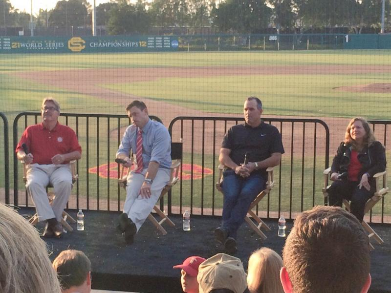 The panel of (L to R) House, Gamradt, Nen and McNitt-Gray speaks at Dedeaux Field (Evan Budrovich/Neon Tommy).