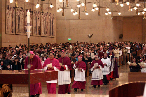 (Cardinal Roger Mahony and the rest of Los Angeles Archdioceses Bishops/Creative Commons)