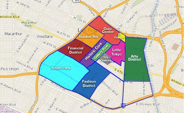 Areas of downtown Los Angeles, which lacks quality public elementary schools.