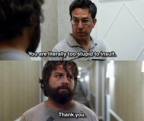 "One of the many reasons to watch ""The Hangover"" - Alan's antics (Twitter/@BestMovieLine)."