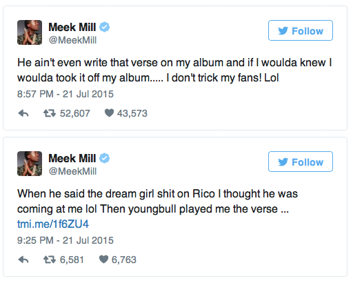 "Meek Mill utilized his ""Twitter fingers"" toward Drake (Screenshot)."