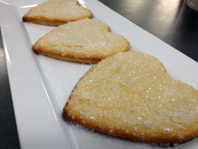 "The ""Lemon Shortbread Cookies"" at DeLuscious Cookies + Milk come in heart shapes this Valentine's Day (Kelli Shiroma / Neon Tommy)."