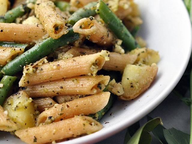 This pasta, complete with green beans and potatoes, contains a medley of flavors (emmadiscovery / Flickr).
