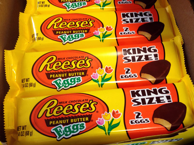 """Reese's Peanut Butter Eggs"" are available in individual sizes, in bags or in King-sized packs (Kelli Shiroma / Neon Tommy)."