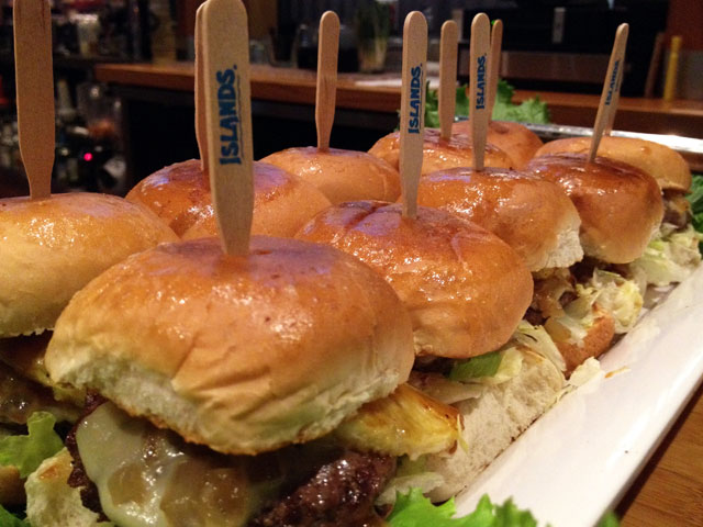 """Hawaiian Sliders"" are just one of the flavorful dishes on the ""NFL Happy Hour"" menu (Kelli Shiroma / Neon Tommy)."