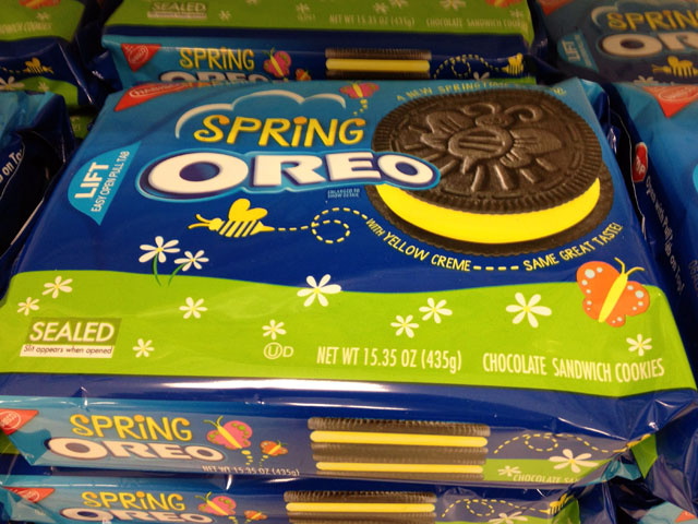 """Spring OREOS"" present the same OREO taste but with yellow filling (Kelli Shiroma / Neon Tommy)."