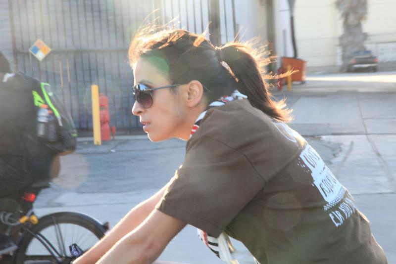 Teresa Chaidez during the bike ride for Benjamin Torres