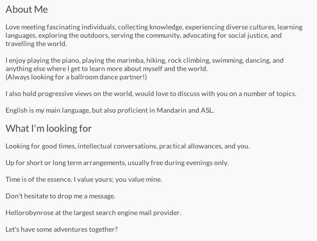 What does profession mean on a dating site