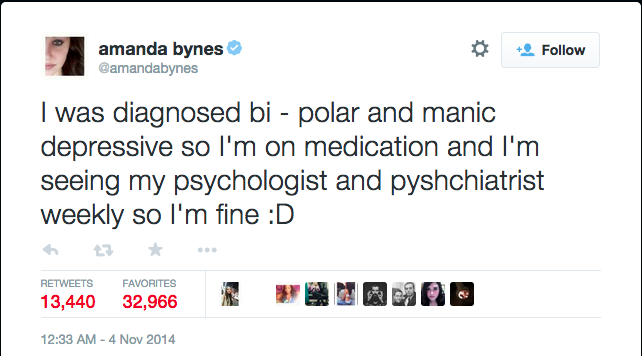 Amanda Bynes addressed her issues to the public at a later time (Twitter/@amandabynes).