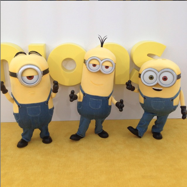 Kevin, Stuart, and Bob at the Minions premiere. (@minionnation/Instagram)