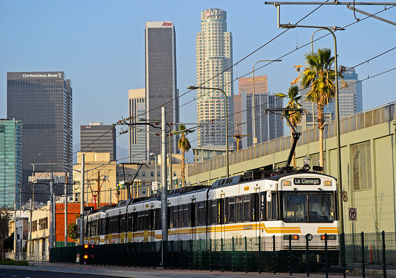 An Expo Line light rail on Flower Street. (JulieAndSteve, Creative Commons)