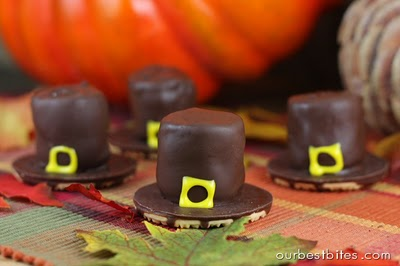 Chocolate dipped pilgrim hats made of marshmallow and cookies. (ourbestbites.com)