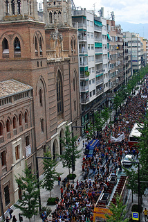 Citizens of Granada, Spain took to the streets Wednesday to protest the nation's austerity measures (Karan Jain).  Courtesy of Creative Commons