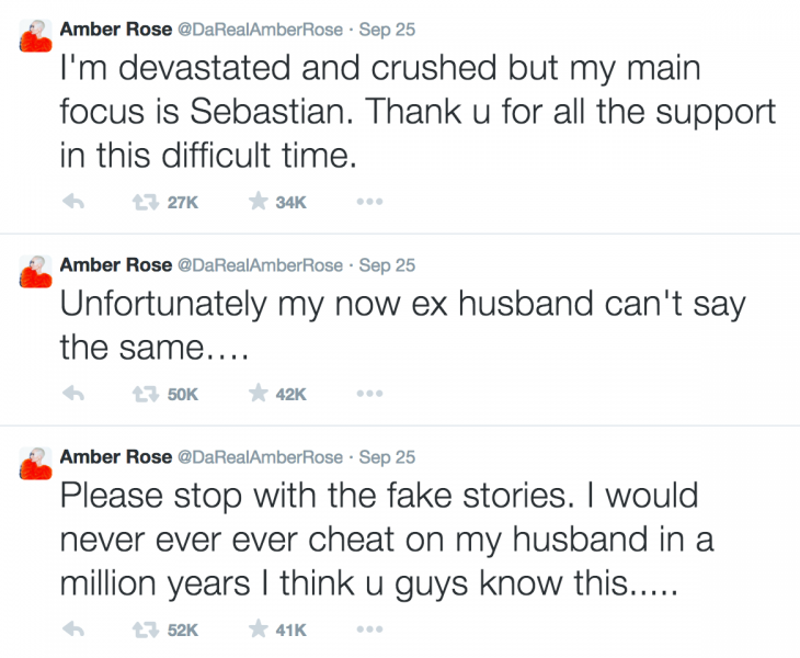 Amber Rose made a series of tweets regarding the divorce and cheating rumors. (@AmberRose / Twitter)
