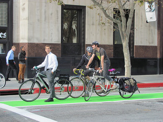 Bike lane on Spring Street. (Creative Commons)