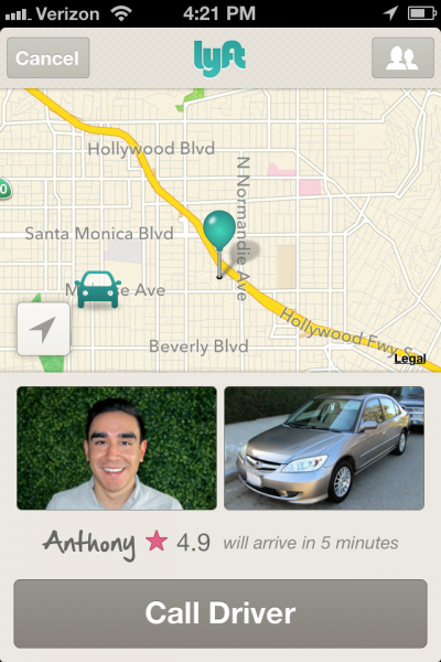 The app provides a picture of the driver, the car, and an ETA
