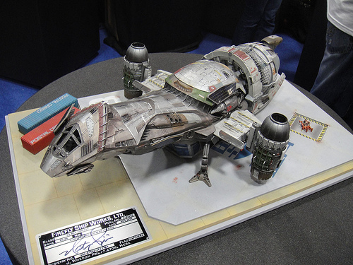 "A model of the good ship herself, ""Serenity"". She's a beauty. (PopCultureGeek)"