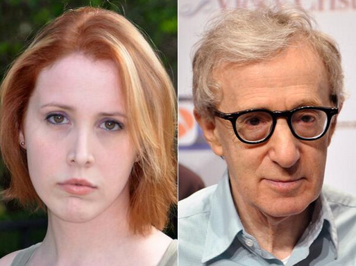 Dylan Farrow and Woody Allen voice opposing sides to Woody's alleged sexual assaults. (Photo/Liberty Voice)