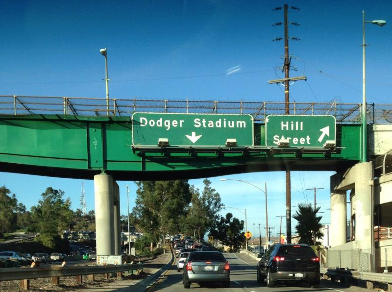 The traffic doesn't stop when you exit the freeway for Dodger Stadium. (Paolo Uggetti/NeonTommy)