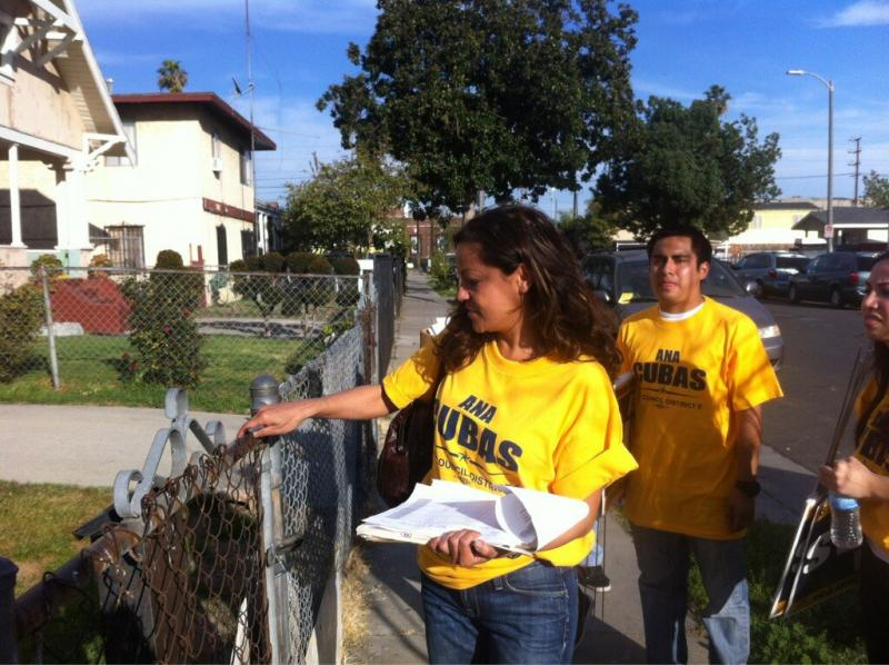 Ana Cubas walks door-to-door, asking South LA residents to elect her as the next LA City Council member. (Heather Navarro)