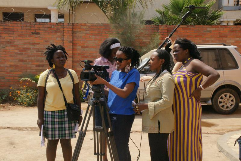 Young women in Kigali, Rwanda participate in a filmmaking workshop (Sarah Geisler)